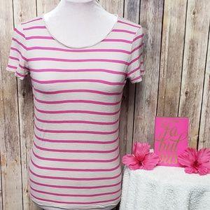 LOFT Pink & grayish-tan striped short sleeve top